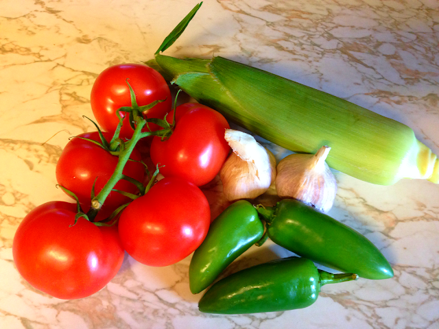 fresh ingredients for salsa