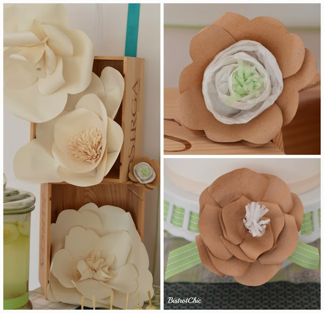 Green Rustic Christening Giant paper flowers by Bistrotchic
