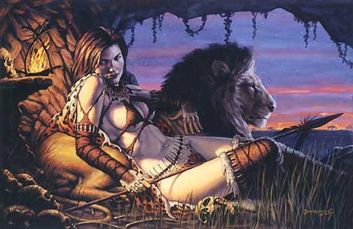 ragazza con leone