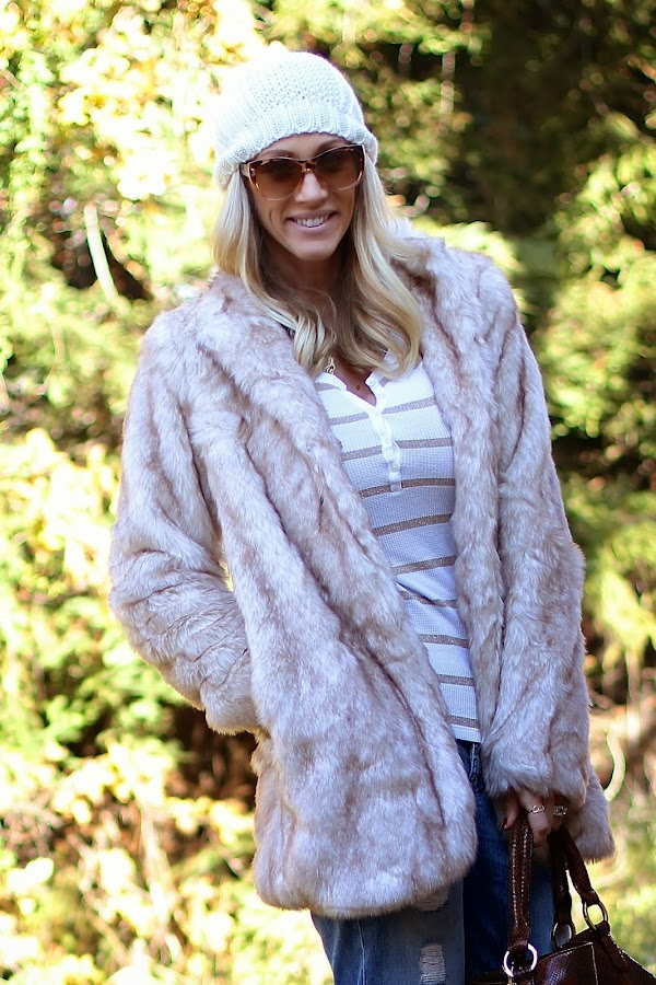 blonde faux fur coat