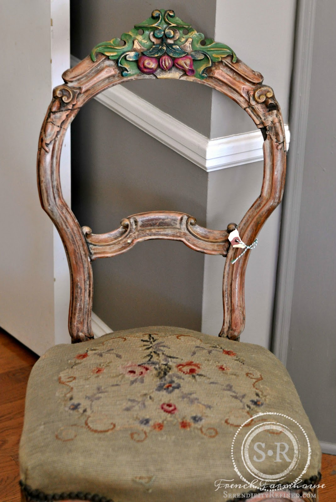 vintage french carved wood chair and mini makeover
