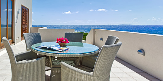 The home's upper level terrace with Caribbean Sea views