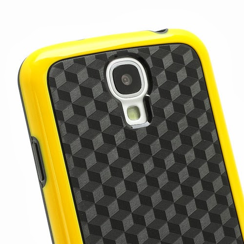Cool 3D Cube Texture TPU Case for Samsung Galaxy S 4 IV i9500 i9505 - Black / Yellow