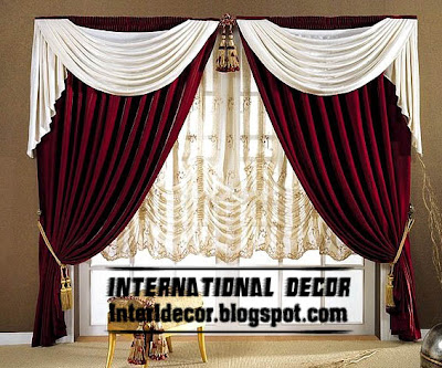 best curtains models 2015, burgundy curtain with white scarf and shades model