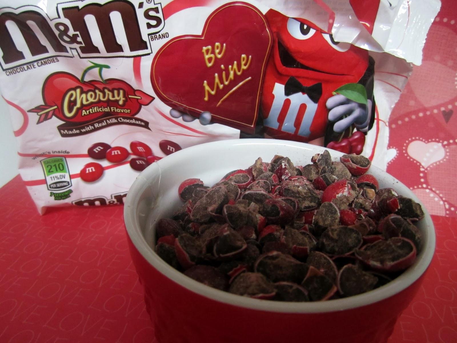 Valentine Cookies, Pillsbury cookies, Cherry M & M's