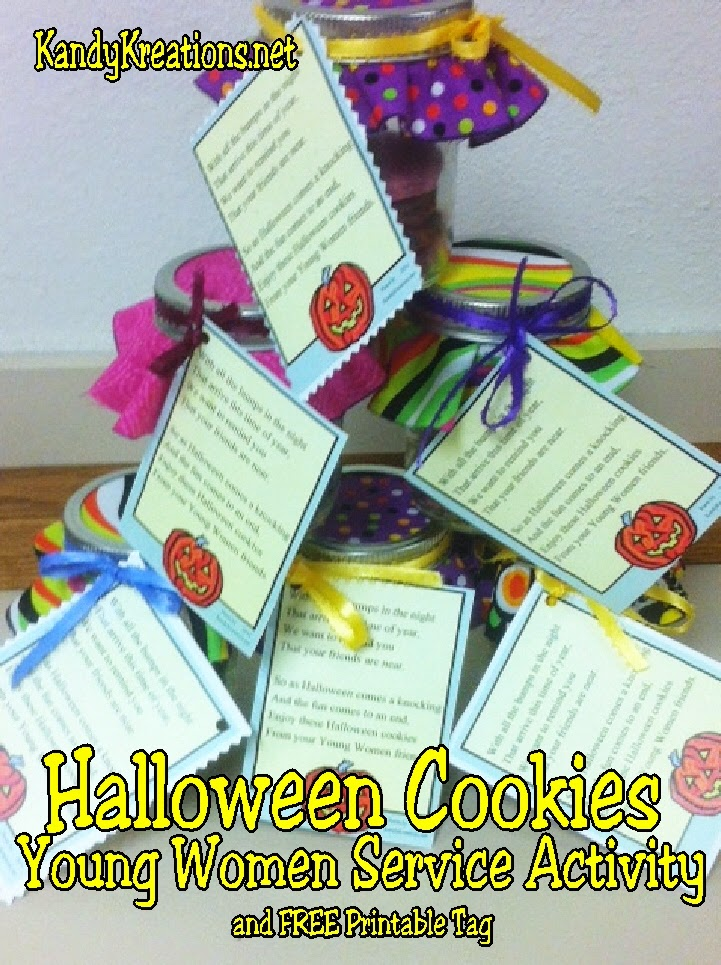 Teach your kids to serve others with these Halloween Cookies Monster jars.  The jars are filled with fun Halloween cookies for the young women to give to others this Halloween as a fun and yummy Service Activity.