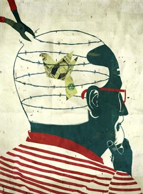 oiseau en dollar qui s'échappe d'un cerveau barbelé