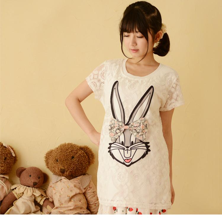 áo kiểu ren chú thỏ đính nơ phong cách nhật bản