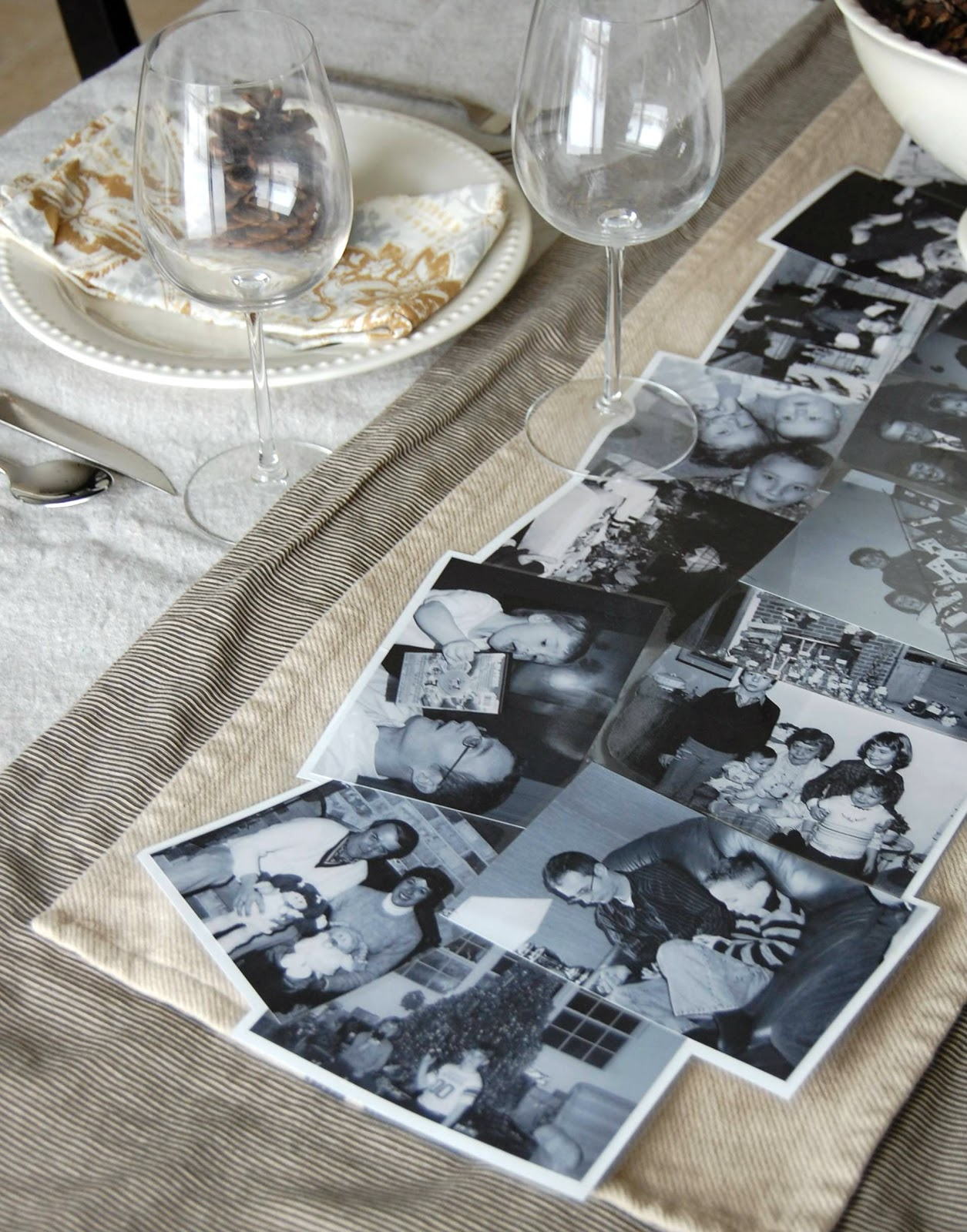on the v side diy photo table runner. Black Bedroom Furniture Sets. Home Design Ideas