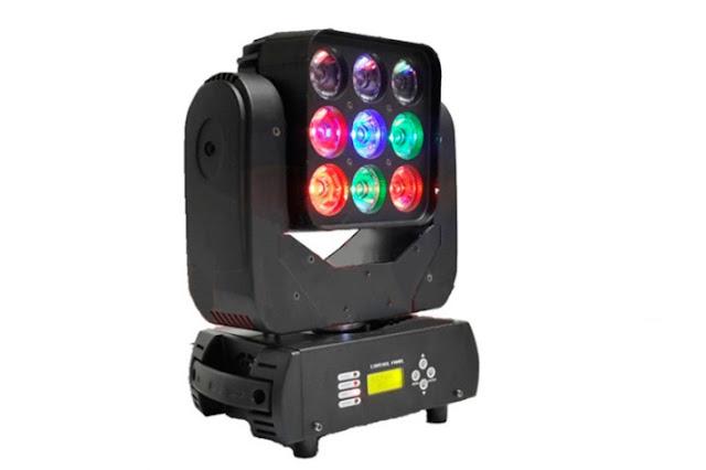 O PL-75 9PCS LED Moving Head é indicada pela empresa fabricante como melhor opção para pequenos e médios shows ao vivo (Foto: Divulgação)