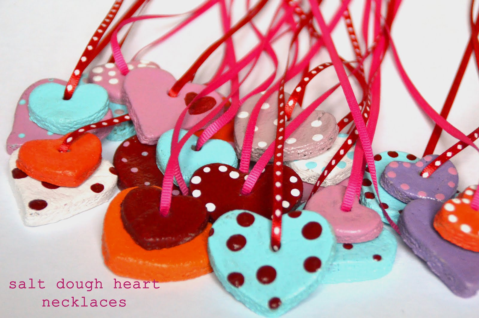 Amazing mae salt dough valentine heart necklaces my daughter and i thought it would be fun to make some necklaces for her friends for valentines this year in the past we have used salt dough to make heart aloadofball Choice Image