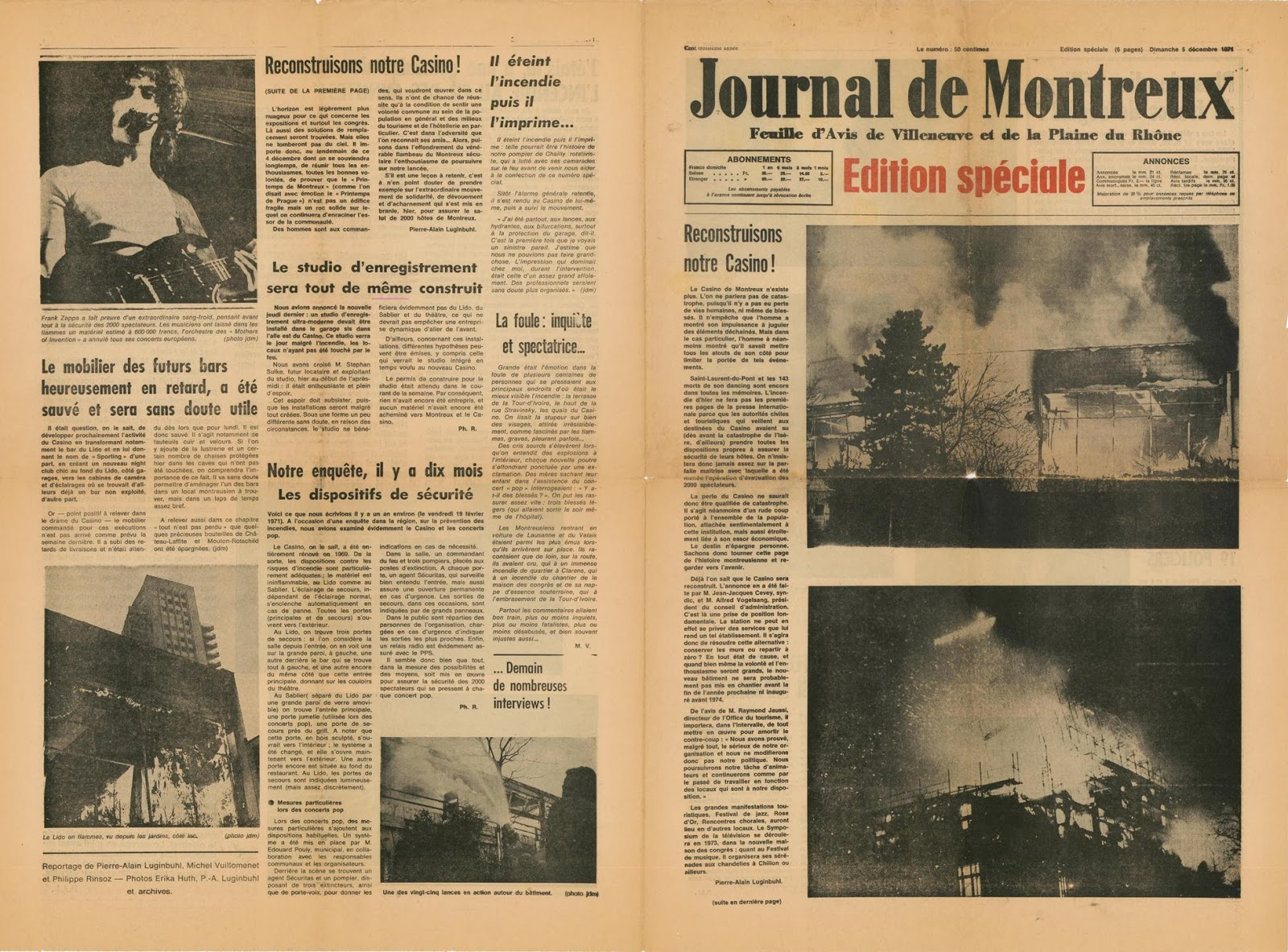 El Journal de Montreux dedicó seis páginas al incidente