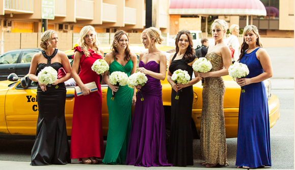 rainbow colorful bridesmaid dresses