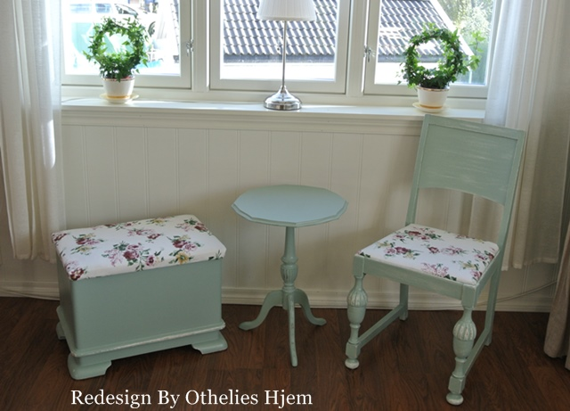 Svenska inredningsbloggar En gammel puff, en stol og et lite bord Redesign By Othelies Hjem