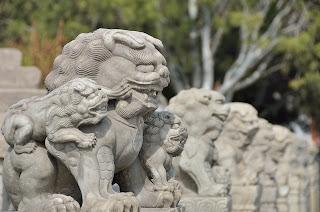 Lions on Lugou Qiao or Marco Polo Bridge in Beijing