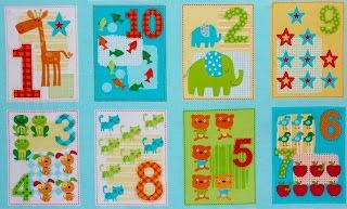 Panel y telas de n meros infantiles - Telas para colchas infantiles ...