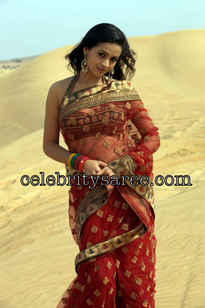Tamil actress bhavan in beautiful red color transparent saree tamil actress bhavana looks gorgeous in her red color netted transparent saree embellished with gold work polka dots flowers with all over saree and gold altavistaventures Gallery