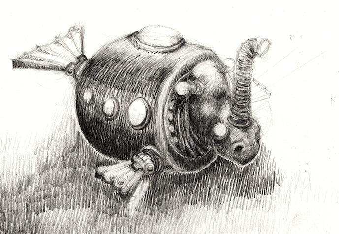 Skizze Nashorn, abstrakt, Bleistiftzeichnung