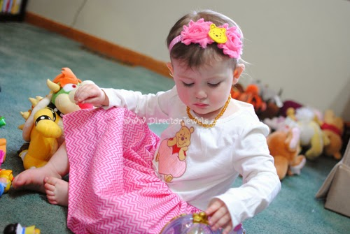 Pooh Dress & Headband by Adelaide's Attic. Tea Party Table and Food Display. Disney Winnie the Pooh Birthday Tea Party Decorations and Theme for Toddlers. 2nd Birthday Party Ideas.