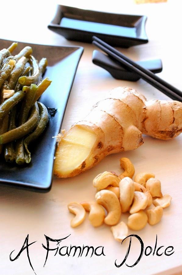 fagiolini agli anacardi e zenzero
