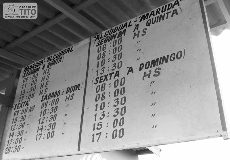 Tabela de horários da travessia entre Marudá e Algodoal, no Pará