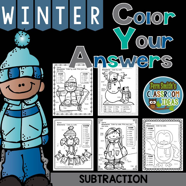 Winter Math: Winter Fun! Basic Subtraction Facts - Color Your Answers Printables