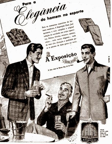 Propaganda da Exposição Dom José para artigos esportivos elegantes em 1952.