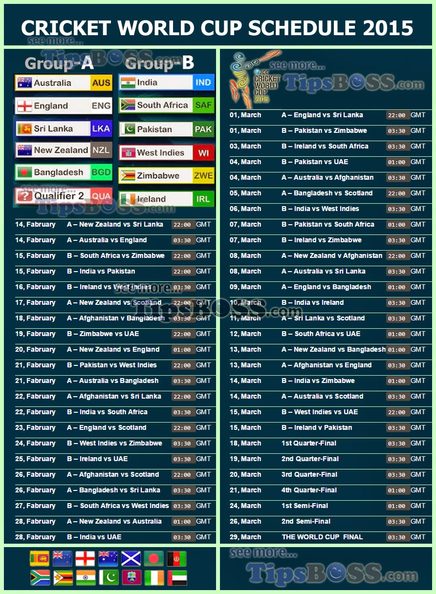 2015 Cricket World Cup Fixture Or Icc Schedule