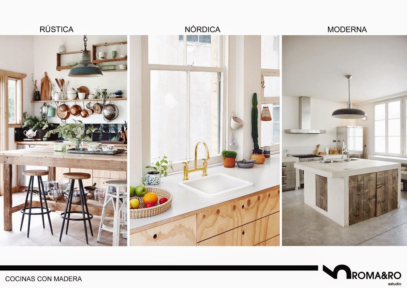 Estilo rústico, estilo nórdico y estilo moderno para cocinas