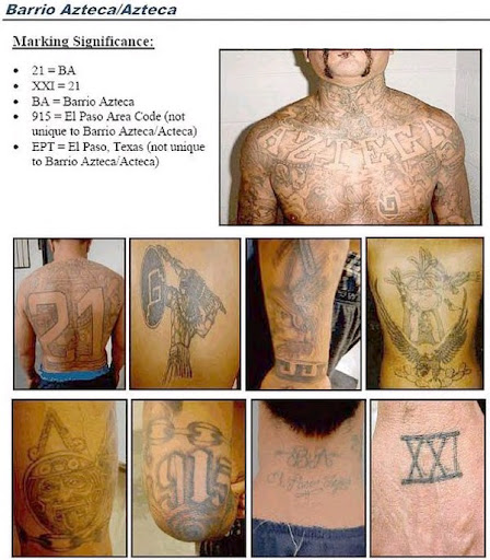 d23d6ee22 The Barrio Azteca gangs operates on both sides of the border in the Juarez  area. They are infamous with their tattoos which mix US gang culture and  Aztec ...