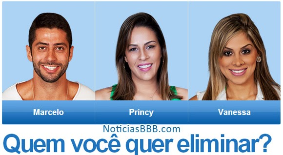 Enquete Votação BBB14: Marcelo, Princy ou Vanessa. Quem vai sair?