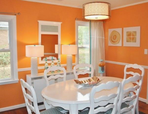 comedores con paredes muebles y accesorios naranjas que esperamos le
