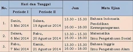 Jadwal UN 2014 Untuk Paket B/Wustha