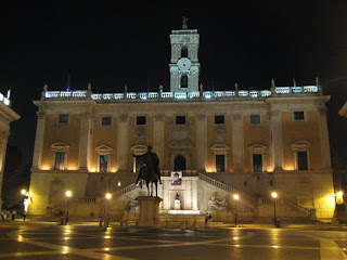 Capitoline Hill lit up at night.