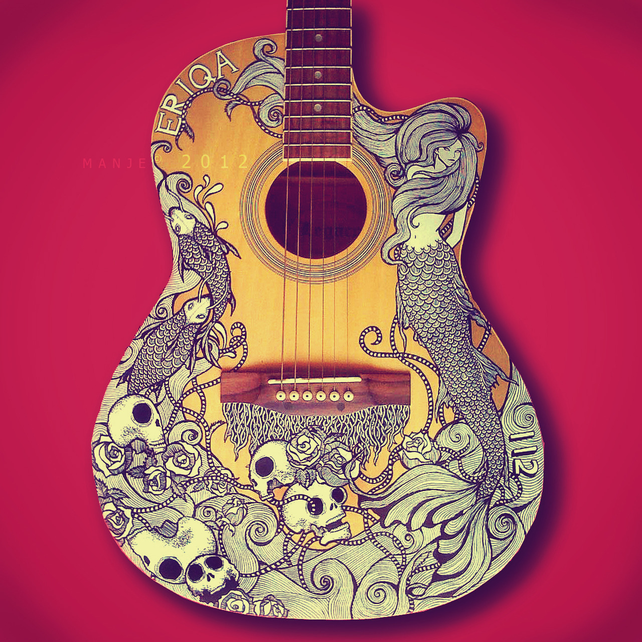 Guitar art for Acoustic guitar decoration