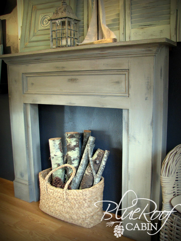 Blue Roof Cabin Mantel Made From Pine Boards