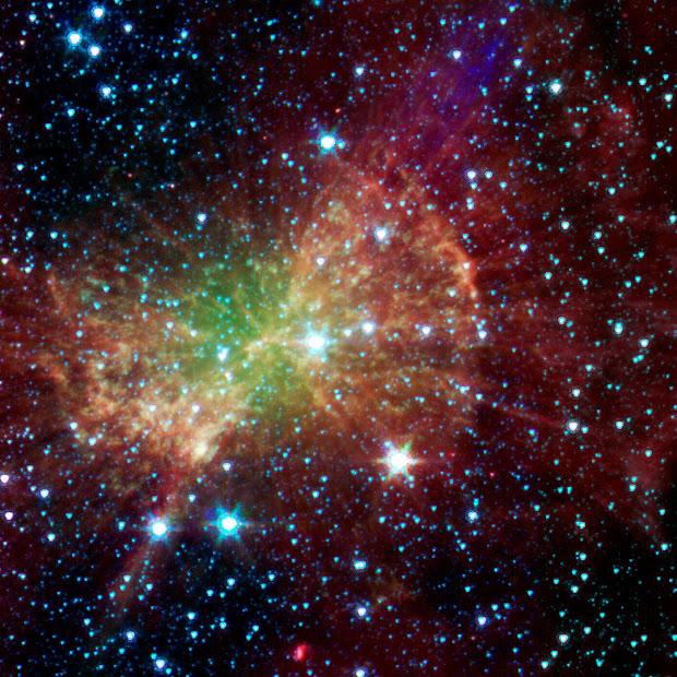 Infrared Spitzer image of Messier 27, the Dumbbell Nebula