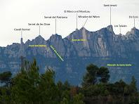 Zoom a la part oriental de Montserrat des de la Serra de Vallhonesta