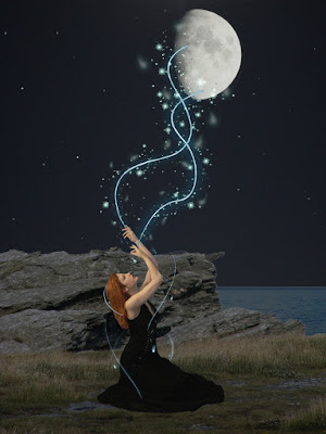 Stars flow down from the moon into a kneeling witch - great illustration of how I sometimes perceive Divine Possession