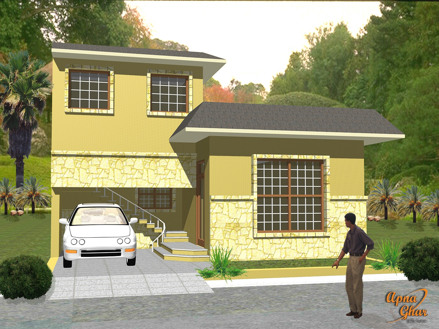 Front Elevation Complete Architectural Solution House