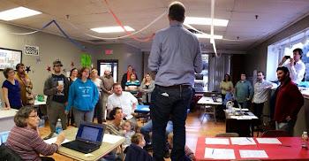 Candidate Aaron Woolf Meets With Woolf Pack Volunteers in Plattsburgh