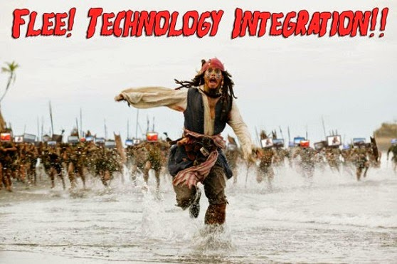 Jack Sparrow running from technology