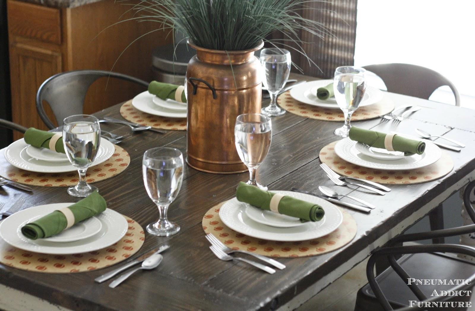 What do you think? Thanksgiving is just around the corner. Are you going to have a set of DIY wood plate chargers at your table? & Pneumatic Addict : DIY Wood Plate Chargers