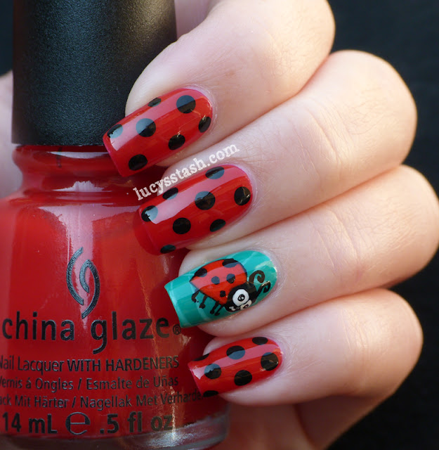 Ladybird/Ladybug nail art manicure with Tutorial