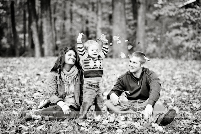 a family photo at Fowler Park in Terre Haute, IN