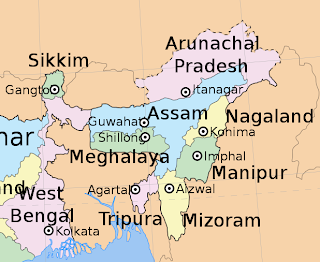 Map of North Eastern India