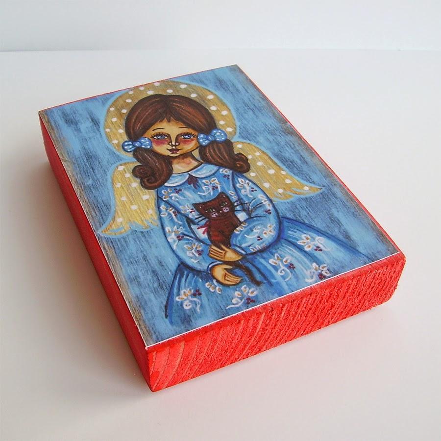 Drewniany obrazek obraz ilustracja dla dziewczynki kotek kotek dziecka prezent upominek na gwiazdkę ozdoba dekoracja bożonarodzeniowa świąteczna Boże Narodzenie anioł aniołek dziecko pamiątka chrztu chrzest pierwsza komunia narodziny urodziny