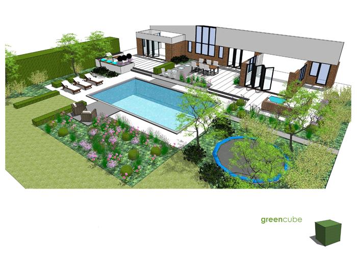 Greencube garden and landscape design uk garden design for Garden swimming pool uk