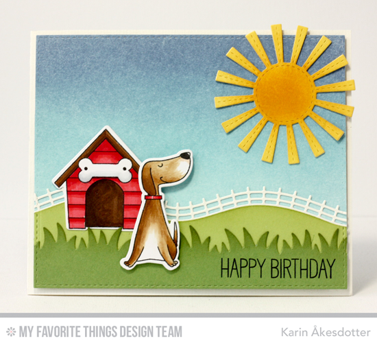 Birthday Dog Card by Karin Åkesdotter featuring the Birdie Brown You Make My Tail Wag stamp set and Die-namics, Birdie Brown Adorable Elephants stamp set, and the Sunny Skies, Grassy Fields, and Rolling Hills Die-namics #mftstamps