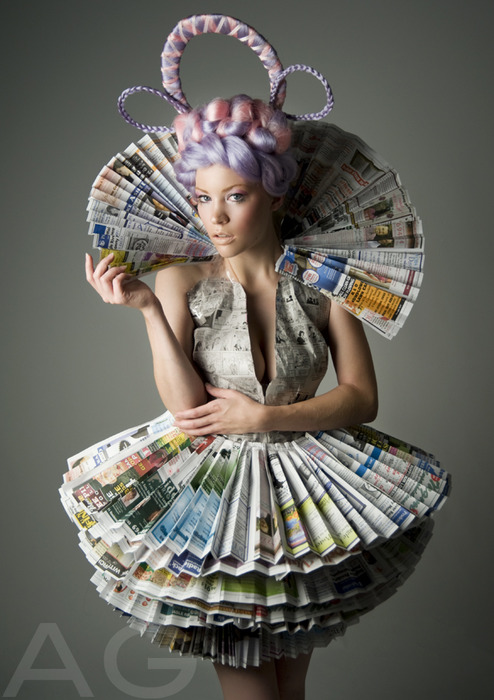 How to recycle recycled newspaper dresses
